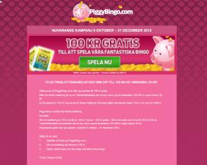 Gör en insättning hos Piggybingo och få en gratis trisslott!